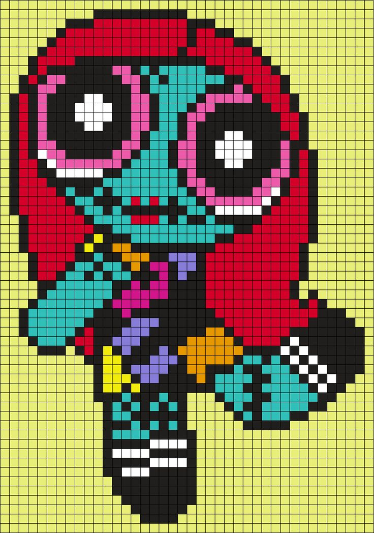 Blossom From The Powerpuff Girls As Sally From The Nightmare Before Christmas - Halloween Perler Bead Pattern