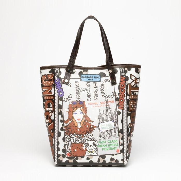 """Barbara Rihl Handbags """"Chic"""" Medium Coated Canvas Shopper in Brown & Multicolor $99 was 335.00 retail."""