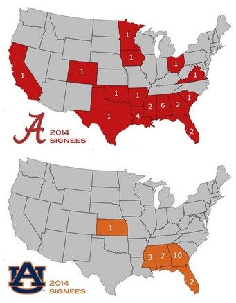 Alabama and Auburn Recruiting Map. The long reach of the Crimson Tide! From Twitter