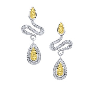 Lafonn Snake Earrings #yearofthesnake    SIMULATED CLEAR/CANARY DIAMOND STERLING SILVER BONDED WITH PLATINUM