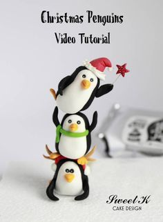 Christmas Penguins Tutorial - CakesDecor  Could probably be used for Sculpey