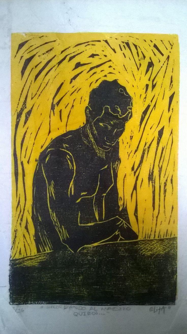 ¨Recordando al maestro Quirós...¨ Cromoxilografia. Grabado en madera