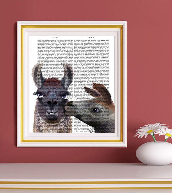Llama Love - Llama Art llama print Valentines gift for her gift for wife Romantic gift for him gift for boyfriend Valentine gift for him by FabFunky on Etsy https://www.etsy.com/listing/121331600/llama-love-llama-art-llama-print