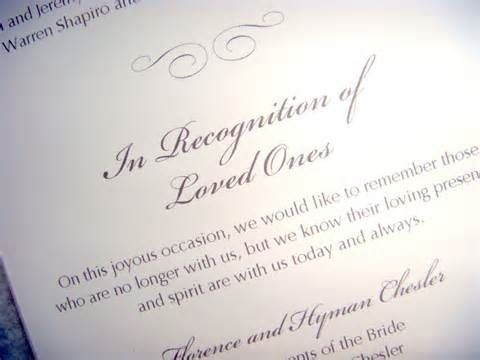 Adding a simple note in your wedding program or mentioning their names in the program is a nice simple way to honor those who have passed.