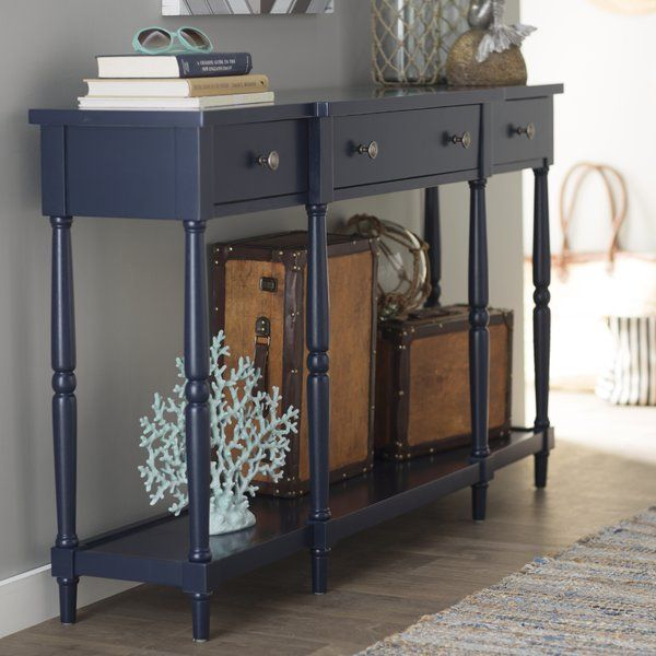 Add A Touch Of Elegance To Your Hall Entry Way Living Room Or Any Room Short On Space At Only 14 Deep Blue Console Table Wood Console Table Console Table