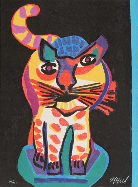 Le Chat Clown | woodcut print, 1978 | Karel Appel