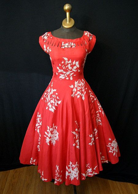 fitflop womens sandal Beautiful     s Red Silk Floral Print Cocktail  Party Dress gorgeous neckline vlv chic vintage dress rockabilly pinup girl  size Small