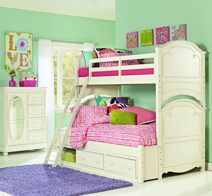 legacy classic kids charlotte bunk bedroom set with underbed storage in antique white - Hausgemachte Etagenbetten Fr Mdchen