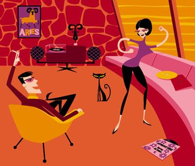 Painting by Shag, aka Josh Agle. His work has a hip, retro 1960s feel to it, like the TV show Mad Men.