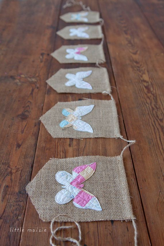 Vintage Quilt Butterfly Burlap Banner by Little Maisie