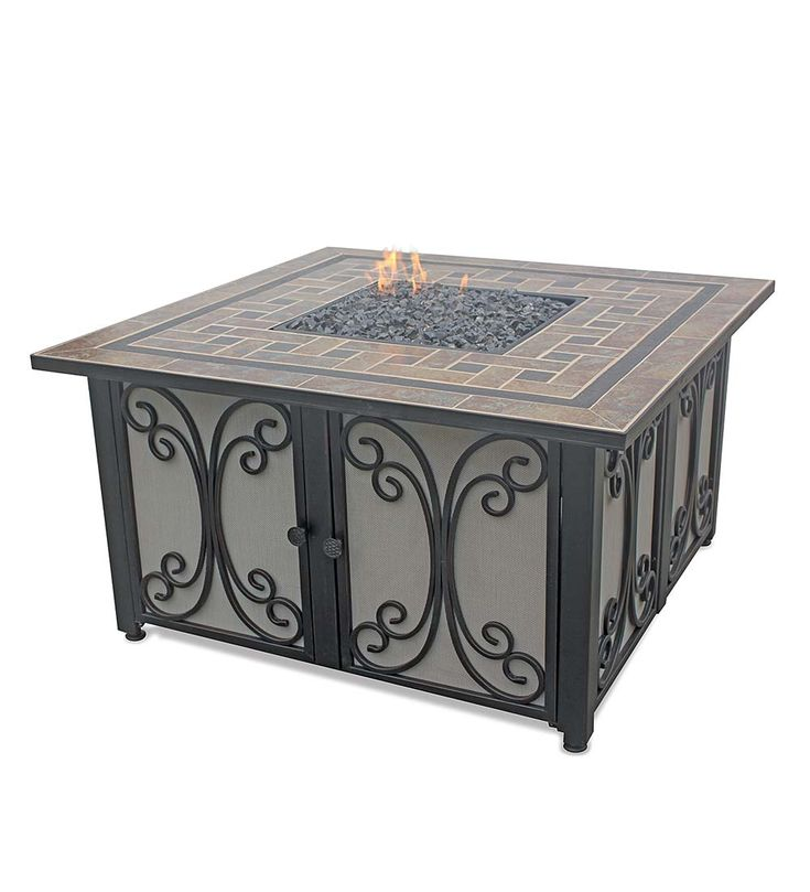 Propane Gas Fire Pit with Slate Tile Mantel | Fire Pits - 17 Best Images About Fire Pits & Outdoor Fireplaces On Pinterest