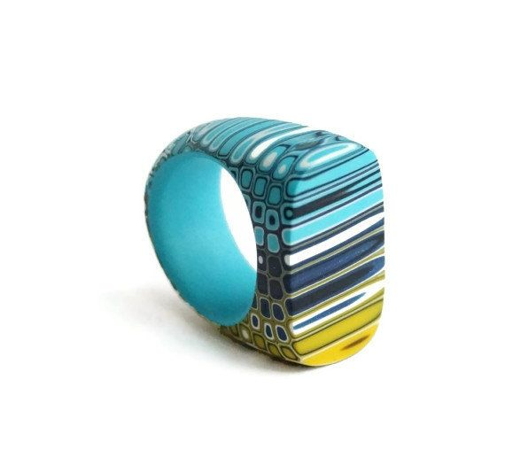 Geometric Striped ring - blue, yellow, turquoise, dark blue - Geometric jewelry -Statement ring