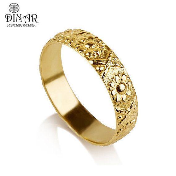 9k Gold flower Wedding Band ring sunflower wedding by DINARjewelry, $475.00