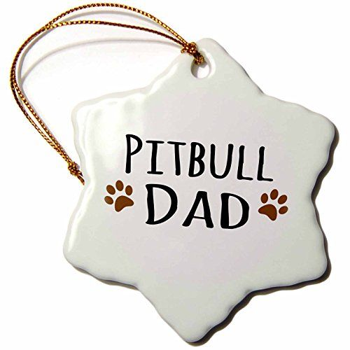 3dRose LLC orn_153961_1 Porcelain Snowflake Ornament 3Inch Pitbull Dog DadDoggie by BreedMuddy Brown Paw PrintsProud Pet Owner Love >>> Read more  at the image link.