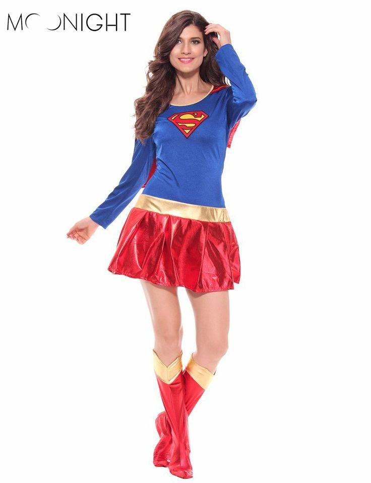 Moonight女性スーパーヒーロー大人コスチュームファンシーdress衣装ハロウィンスーパーガールスーパーウーマン衣装用のハロウィン