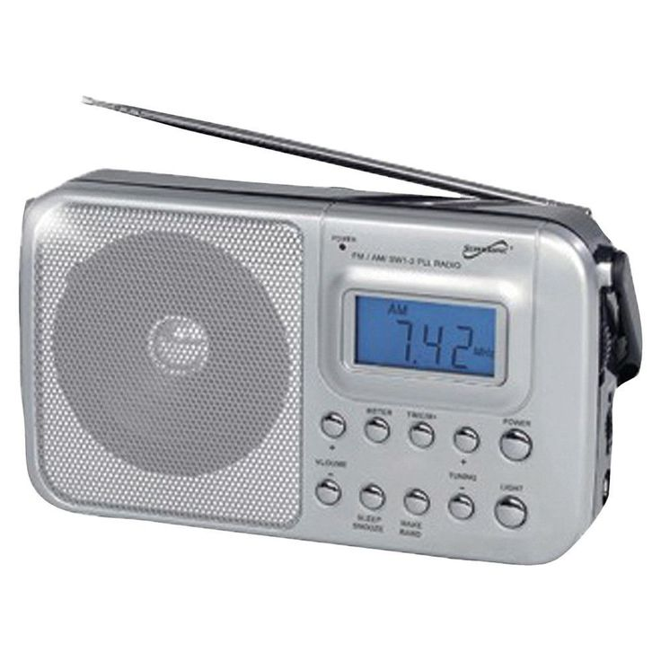 Supersonic SC-1091 Portable 4-Band AM-FM-SW1-2 Radio. PLL AM/FM/SW1-2 radio;  Digital LCD display;  Clock display;  Alarm function;  Volume control;  Built-in speaker;  Telescopic antenna;  Foldable handle;  Includes AC adapter;  Requires 2 D batteries;Supersonic SC-1091 Portable 4-Band AM/FM/SW1-2 RadioCondition : This item is brand new, unopened and sealed in its original factory box.
