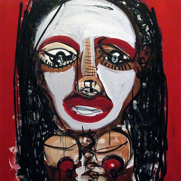 Artist: Silvano Bruscella Ragazza nera mixed media on canvas, 2009