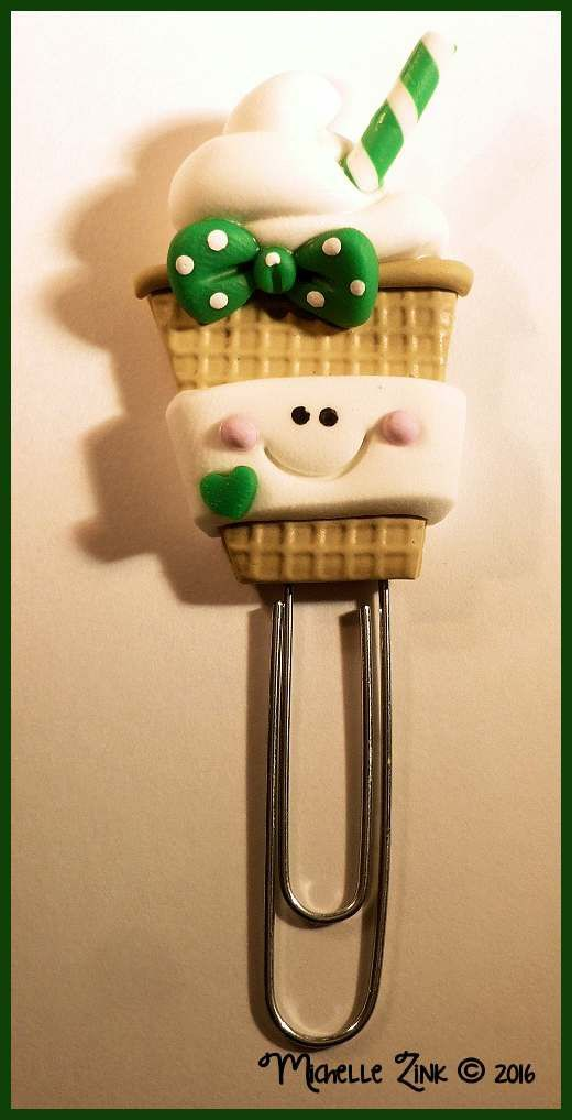 Girly Coffee in Green Planner Clip Page Marker Paper Clip Polymer Clay