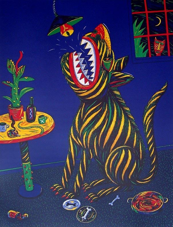 "Norman CATHERINE     ""Dog-watch"", 1991 silkscreen 13/45 88.5x62cm"