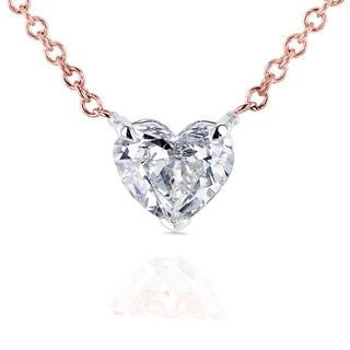 23 best heart pendants images on pinterest heart pendants diamond annello by kobelli 14k rose gold floating heart certified 12ct diamond solitaire necklace aloadofball Gallery