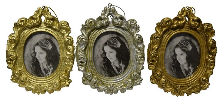 Set of 3 Ornate Oval Photo Frames.