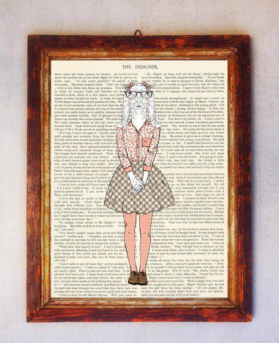 Female Goat with Glasses Art Print Goat Wall Art Book Art