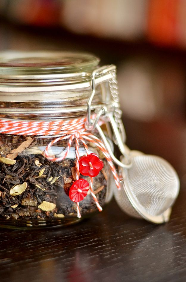 Get decorating instructions here. | How To Make Homemade Chai Tea Mix To Give As A Gift. Include with A Loose Tea Strainer/Ball.