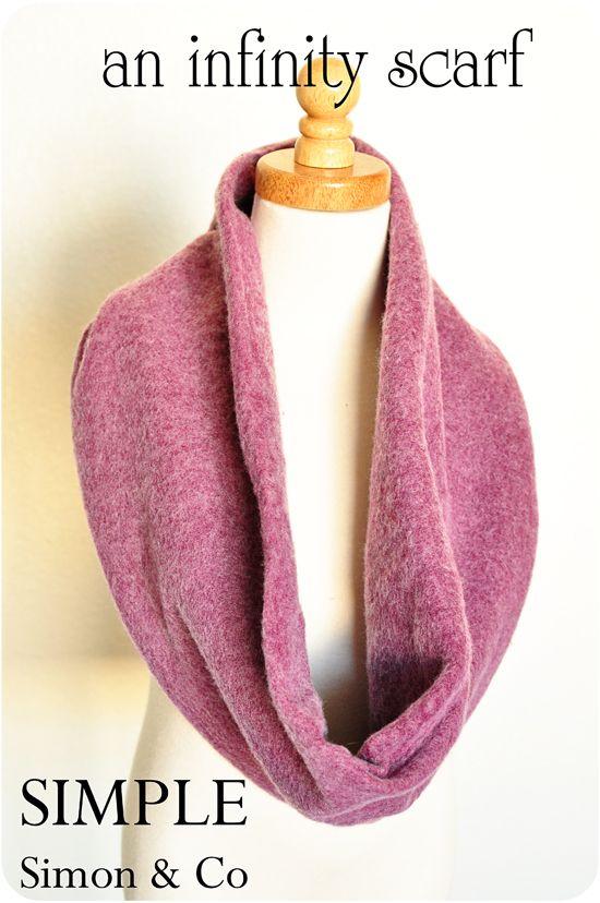 DIY Dollar Store Sweatpants Infinity Fleece Scarf. #diy #crafts #tutorial #dollar_store #sewing #accessories #scarf