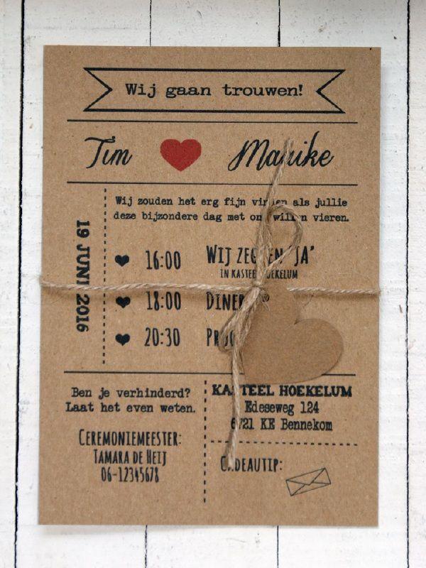 Kraft trouwkaart met hartje - Tim & Maaike