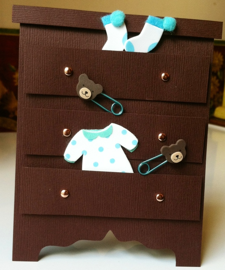 Baby shower card. This could be cute as a teenager birthday card done in all pink with shoes and purses popping out.