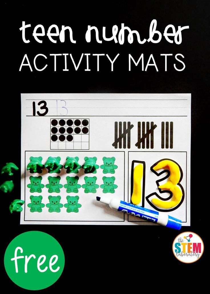 Free teen number activity mats! Fun, hands-on preschool or kindergarten math center.