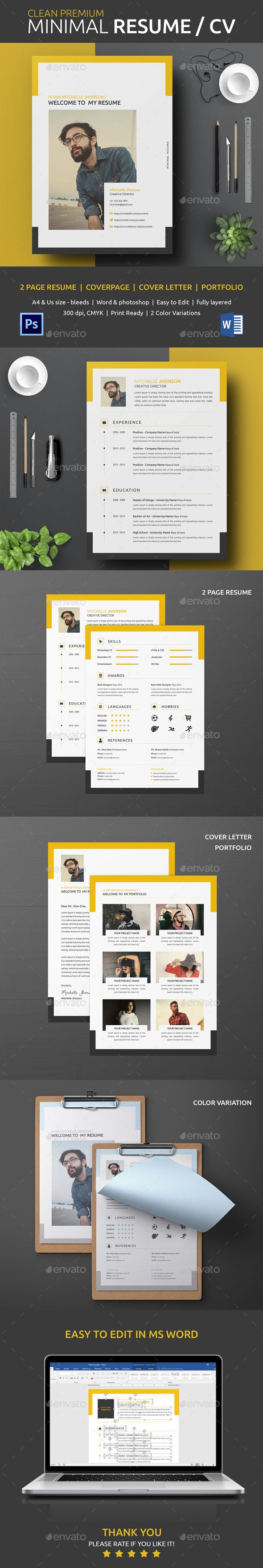 Clean Resume Download%0A Buy Resume by on GraphicRiver  Simple and Clean Resume cv template  This  professional resume file is an Adobe Photoshop format and Ms Word  so you c