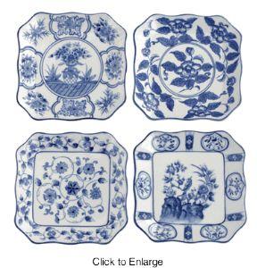 """Porseleinen borden, vierkant, blauw-wit  6.5"""""""