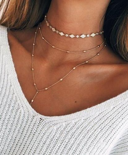 layered necklace.