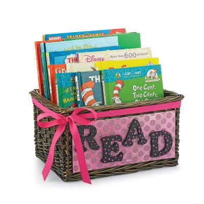 This would be a cute gift idea for a baby shower --ask everyone to bring a book to fill the basket for the baby!