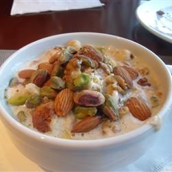 """Om Ali Allrecipes.com  """"It's an Egyptian dessert that contains phyllo dough or puff pastry, milk and nuts. Use any kind of nuts that you would like and eat it with a spoon. """""""