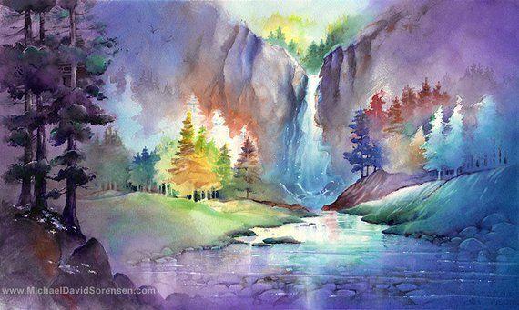 Hidden Falls Watercolor Print Whimsical Waterfall Landscape Etsy Watercolor Landscape Paintings Watercolor Artwork Waterfall Art