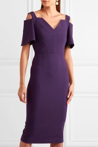Purple crepe  Zip fastening through back  67% polyester, 29% viscose, 4% elastane; lining: 68% acetate, 32% polyester  Dry clean Designer color: Dark Violet Imported