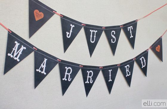 Free Chalkboard Just Married Banner & Mr. & Mrs. can be printed as well- just print out additional lettering.