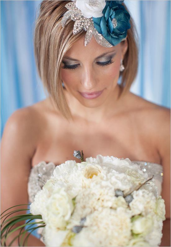 I LOVE THIS HEADBAND!!!  Photographer: Jenna McKenzie Photography    Veil or Hair Accessories: Fine and Fleurie  also by Kelly Kobus  Centerpiece design by Hey Gorgeous Events  Blue backdrop created by Hey Gorgeous Events  Model: Maggie Torongo, owner of Renee Austin Weddings  Linen: La Tavola