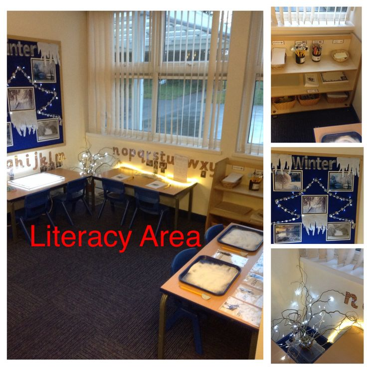 literacy area contains light box table writing table and letters and sounds table we