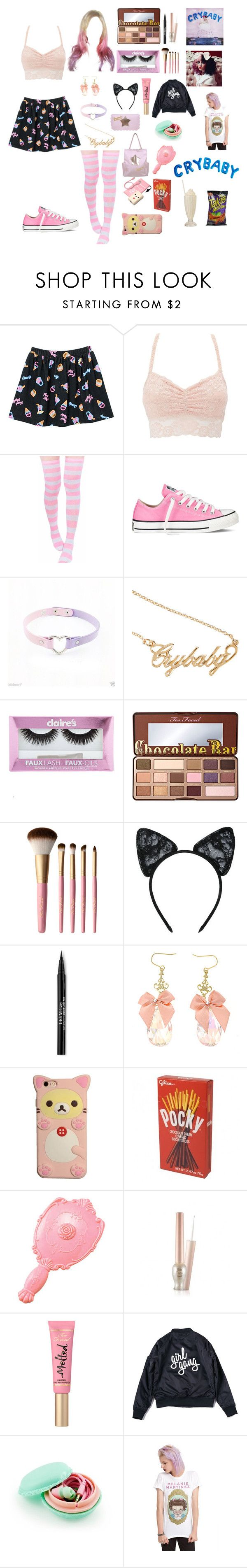 """i'm going to Melanie Martinez tour 2016"" by mewmewbunny ❤ liked on Polyvore featuring Charlotte Russe, Converse, claire's, Too Faced Cosmetics, Maison Close, Trish McEvoy and Samsung"