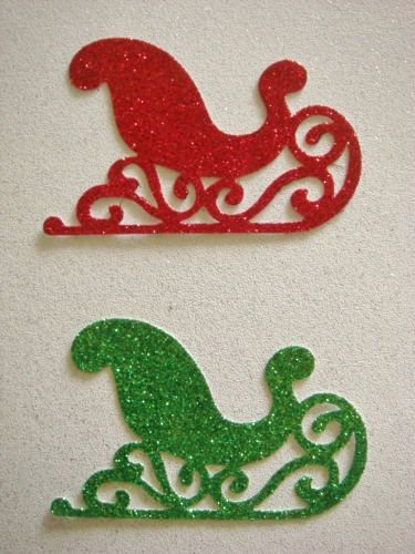 Red & Green glitter Santa sleigh for christmas cards die cuts/card toppers santa sleighs craft project on Etsy, £2.79