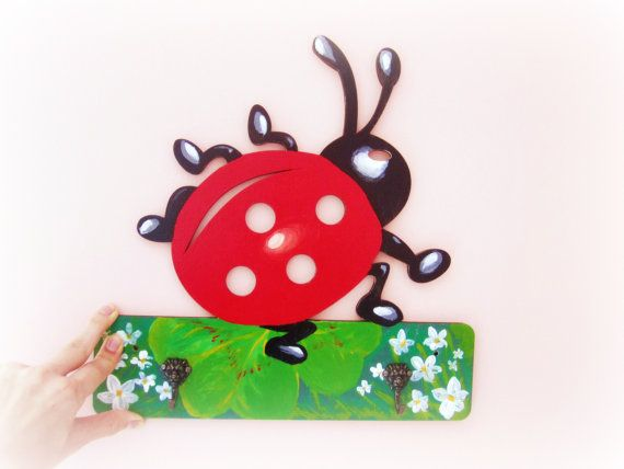Ladybird wall rack wood coat rack  handpainted by GattyGatty