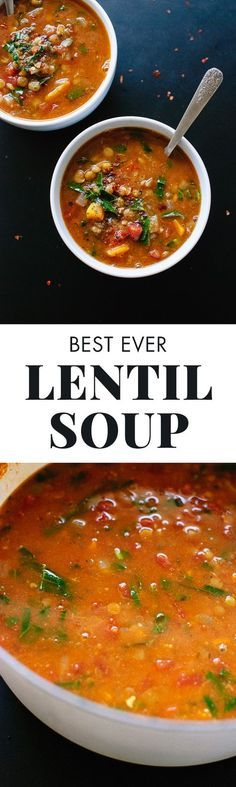 This healthy, Mediterranean-flavored lentil soup is made with (mostly) pantry ingredients! Vegan and gluten free. cookieandkate.com