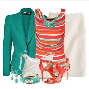 С чем носить коралловые босоножки: белая юбка, яркий топ, бирюзовый пиджак, светло-серая сумка