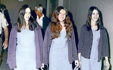 Charles Manson's 'harem' of jailed female followers. Susan Atkins, Patricia Krenwinkel and Leslie Van Houten en route to court in Los Angeles, 1970.