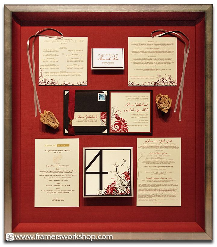 A Wedding Collection Framed Including The Roses Invitation Menu And Place Cards Celebration Framing In 2018 Pinterest