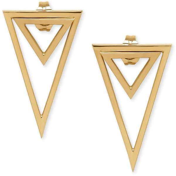 Double Triangle Drop Earrings in 14k Gold (€120) ❤ liked on Polyvore featuri...