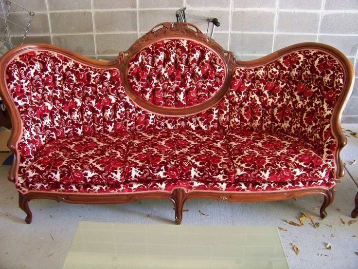 Red Living Room Antique Sofa And Armchair
